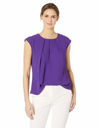 Kasper Women's Petite Light Weight Crepe Keyhole Blouse