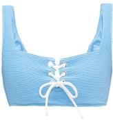 Heidi Klein Cairns Lace-up Ribbed Bikini Top - Womens - Light Blue
