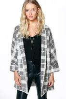 boohoo Boutique Kayleigh Belted Blanket Check Coat grey