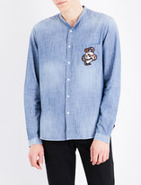 The Kooples Snake embroidered regular-fit denim shirt