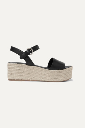 Prada Leather Espadrille Platform Sandals - Black