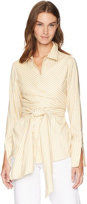 C/Meo Women's Believe in ME Long Sleeve Button Down WRAP TIE Front Shirt