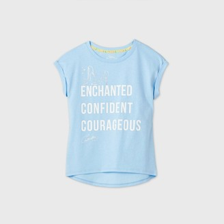 Girls' Disney Princess 'Enchanted Confident Courageous' Short Sleeve T-Shirt -