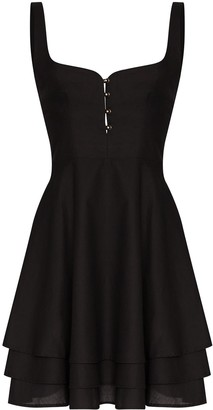 Esteban Cortazar Tiered Pleated Cotton Mini Dress