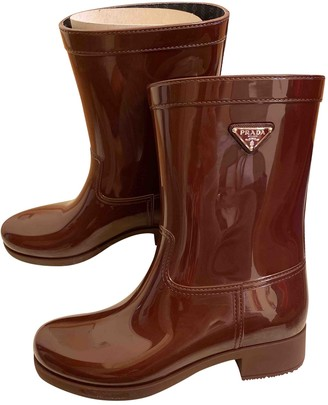 Prada Burgundy Rubber Boots