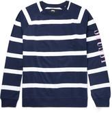 Stüssy - Embroidered Striped Cotton-jersey Sweatshirt