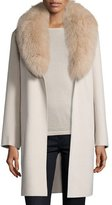Neiman Marcus Double-Face Cashmere Coat w/ Fox Fur Collar