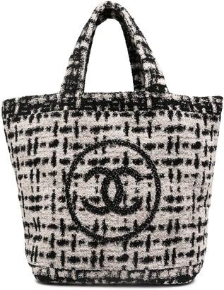 Chanel Pre Owned CC tweed beach bag