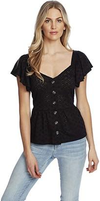 CeCe Sweetheart Neckline Ditsy Eyelet Knit (Rich Black) Women's Clothing