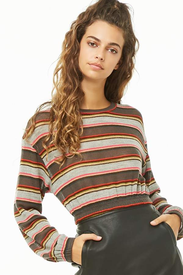 Forever 21 Semi-Sheer Striped Crop Top
