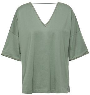 Brunello Cucinelli Cutout Bead-embellished Cotton-jersey T-shirt