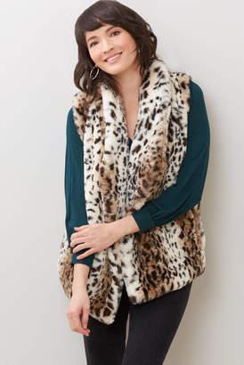 BB Dakota Purr Usual Faux Leopard Fur Vest Multi S