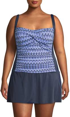 Penbrooke Plus Nautical Frond Graphic One-Piece Swimsuit
