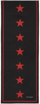 Givenchy Black & Red Jacquard Stars Scarf