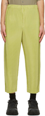 Homme Plissé Issey Miyake Yellow Gingham Hologram Trousers