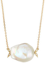 Mizuki 14k Gold Diamond Leaf & White Pearl Necklace
