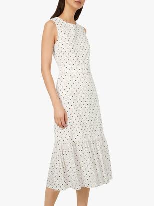 Warehouse Pique Spot Print Tiered Midi Dress, Neutral Print