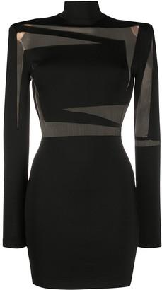 Balmain Sheer-Panel Fitted Mini-Dress