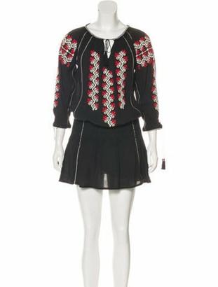 Ulla Johnson Embroidered Long Sleeve Dress Black