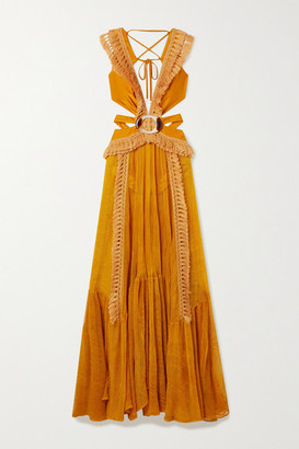 PatBO Cutout Tasseled Mesh And Stretch-jersey Maxi Dress - Orange