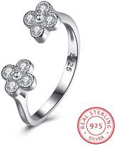 BALANSOHO 925 Sterling Silver Cubic Zirconia Double Flower Open Rings Women Wedding Band Adjustable Engagement Promise Rings