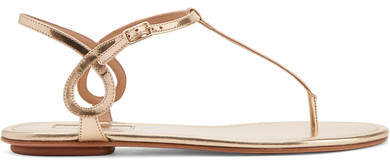 Aquazzura Almost Bare Metallic Leather Sandals - Gold