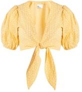 Lisa Marie Fernandez Puff-sleeved Tie-waist Cotton Blouse - Womens - Orange White