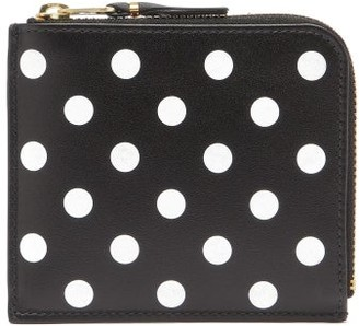 Comme des Garcons Zip-around Polka-dot Leather Wallet - Black