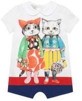 Gucci Baby kitten friends print sleepsuit