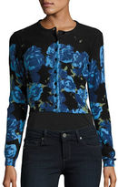 Tracy Reese Long Sleeve Printed Cropped Cardigan
