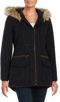 Gallery Corduroy Trimmed Hooded Coat
