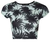 Select Fashion Fashion Womens Green Palm Print Crop Tee - size 14