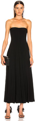Norma Kamali Strapless Flared Midcalf Dress in Black | FWRD