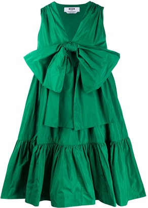 MSGM Bow-Front Gathered Taffeta Dress