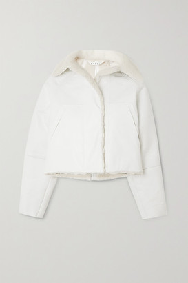 Kassl Editions Reversible Cropped Coated Cotton-blend And Shearling Coat - White