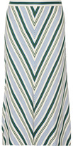 Tory Burch Villa Striped Satin-twill Midi Skirt - Off-white