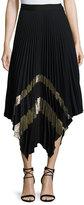 Cinq à Sept Clothing Palma Metallic Plissé; Midi Skirt
