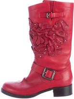 Valentino Floral-Embellished Mid-Calf Boots