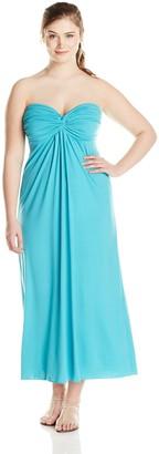 Star Vixen Women's Plus-Size Strapless Twist Front Sweetheart Maxi Dress