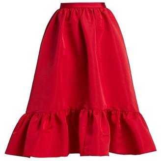 Adam Lippes Satin Ruffle-Hem Skirt