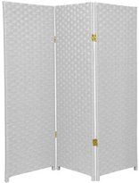 Oriental Furniture Short Height Room Divider, 4-Feet Rattan Like Woven Plant Fiber Folding Privacy Screen