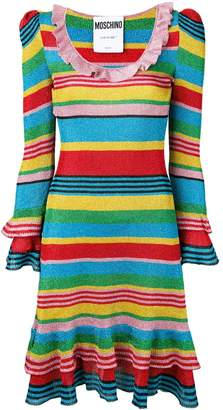 Moschino rainbow striped knitted dress