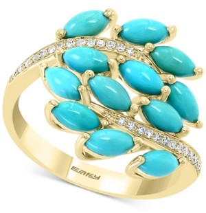 Effy Turquoise Cluster & Diamond (1/10 ct. t.w.) Statement Ring in 14k Gold