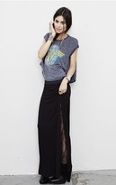 Blue Life Long Skirt with Lace Inserts in Black -