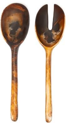 Dinosaur Designs Stone Marbled-resin Serving Spoons - Brown Multi