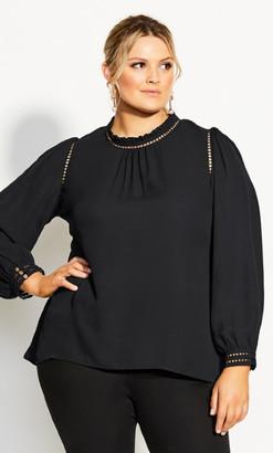 City Chic Kiss Me Quick Shirt - black