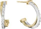 Marco Bicego 18K Gold Cross Over Hoop Earrings With Diamonds