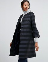 Helene Berman Coat With Fluted Sleeves in Textured Navy and Black