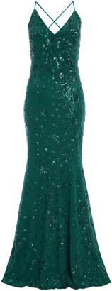 Dorothy Perkins Womens *Quiz Green Sequin Fishtail Maxi Dress, Green