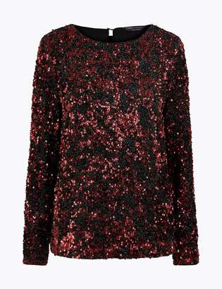 Marks and Spencer Sequin Long Sleeve Top